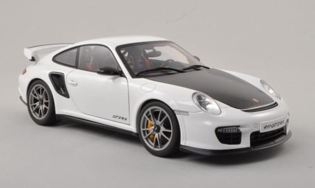 Porsche 997 GT2 1/18 Autoart blanche/carbon 2010 miniature