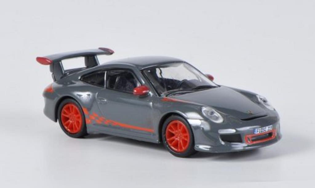 Porsche 997 GT3 1/87 Schuco grise/orange miniature