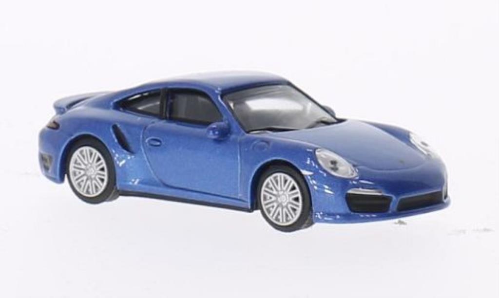 Porsche 991 Turbo 1/64 Schuco bleu diecast