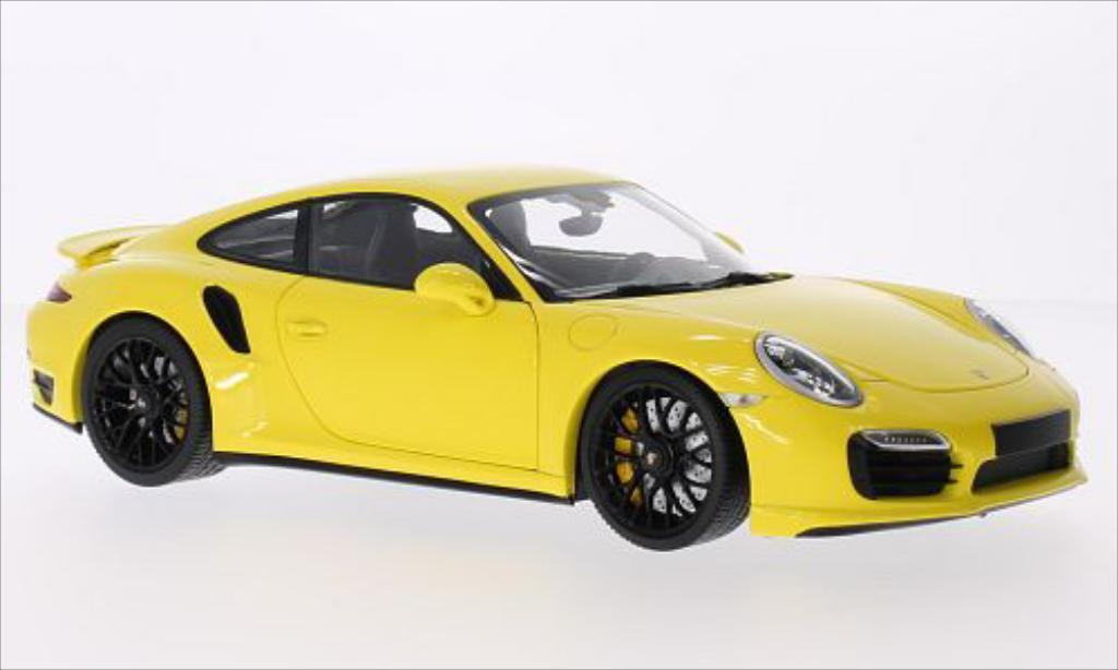 Porsche 991 Turbo S 1/18 Minichamps yellow 2013 diecast model cars