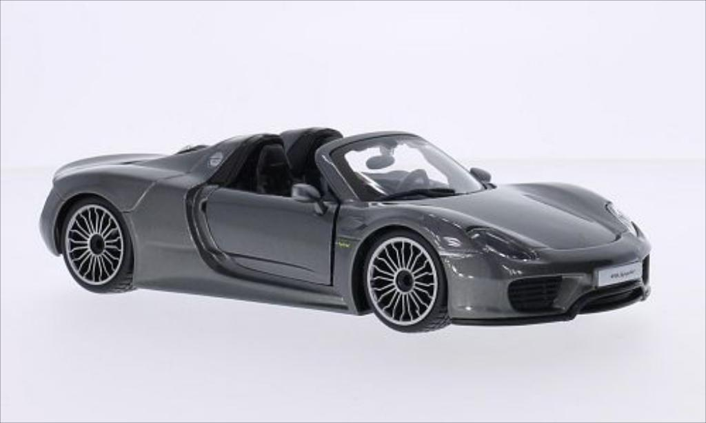 Porsche 918 1/24 Burago Spyder metallise grey diecast model cars