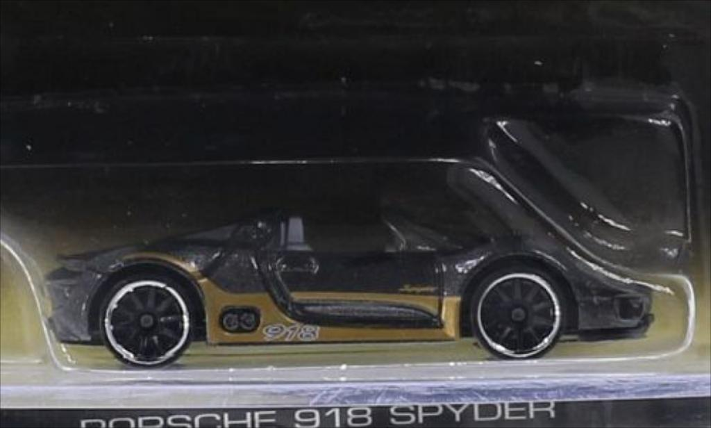 Porsche 918 1/64 Hot Wheels Spyder metallic-grise/gold miniature