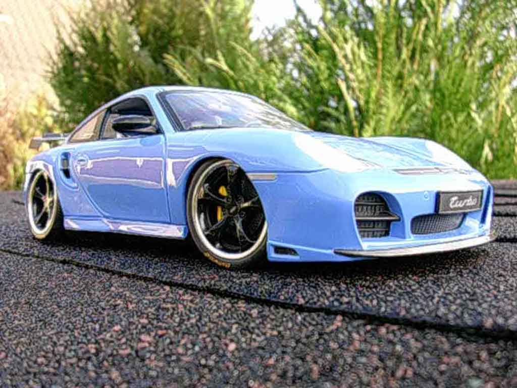 Porsche 996 Turbo 1/18 Hotworks techart bleue miniature