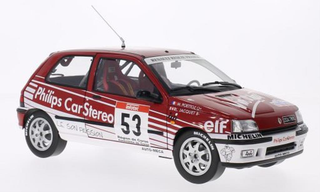 Renault Clio 16S 1/18 Norev No.53 Philips Car Stereo Rally Tour de Corse 1991 /M.Poettoz miniature