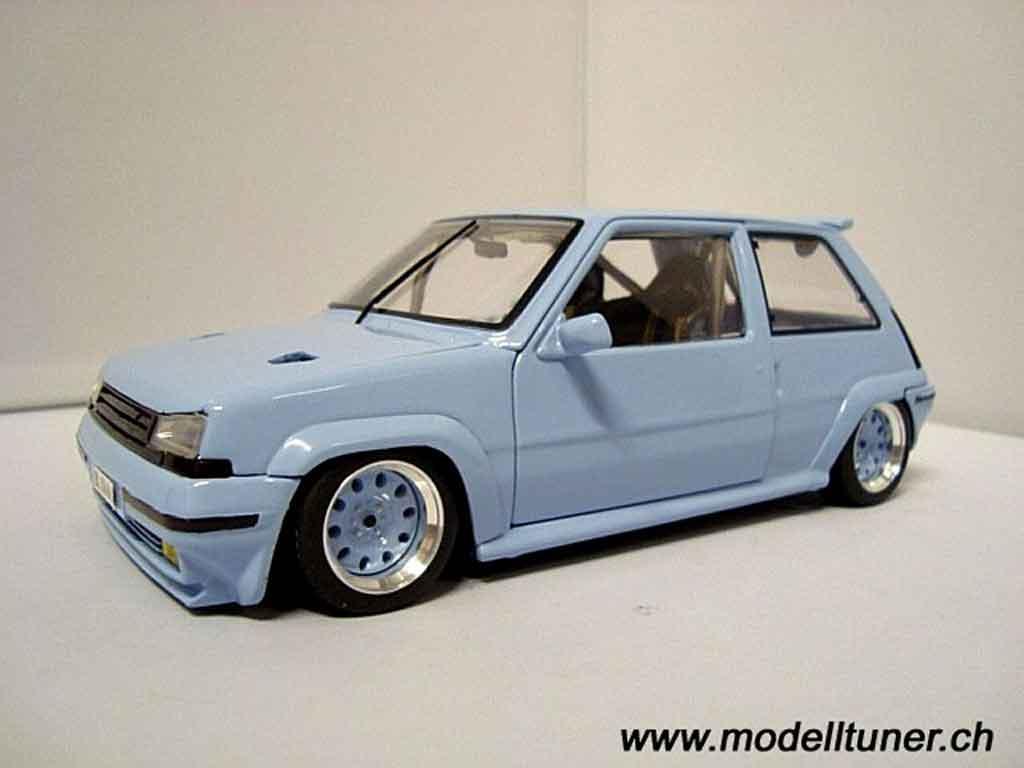 Renault 5 GT Turbo 1/18 Norev bleu jantes 13 pouces modellautos
