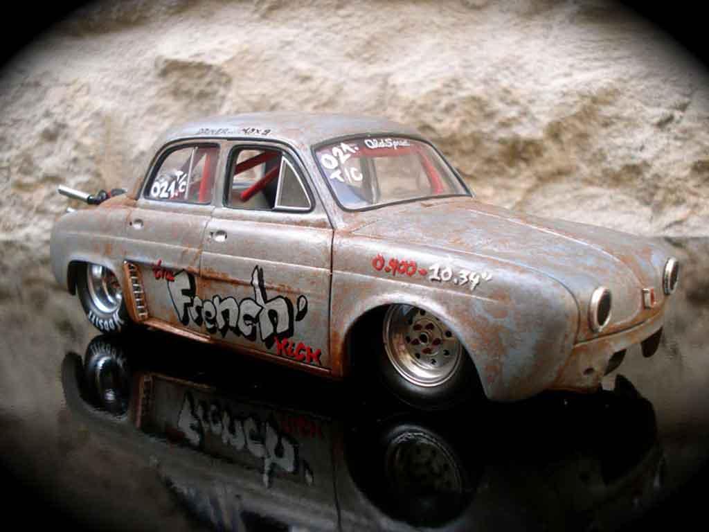 Renault Dauphine 1/18 Norev drag strip a moteur vw prepare