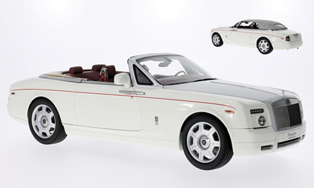 Rolls Royce Phantom 1/18 Kyosho Drophead Coupe blanche/matt-grise mit rougeem Zierstreifen LHD
