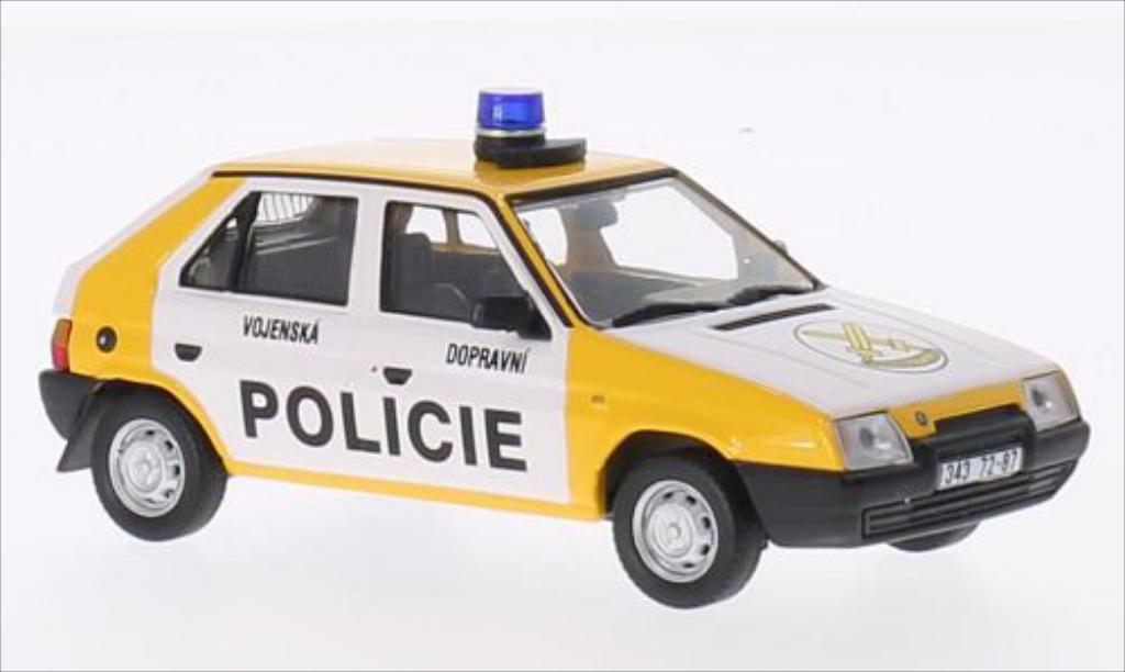 Skoda Favorit 1/43 Abrex Vojenska Dopravni Policie 1992 blanche/jaune 1987 miniature
