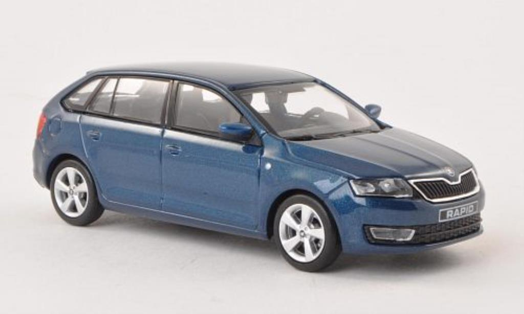 Skoda Rapid 1/43 Abrex Spaceback bleu 2013 miniature