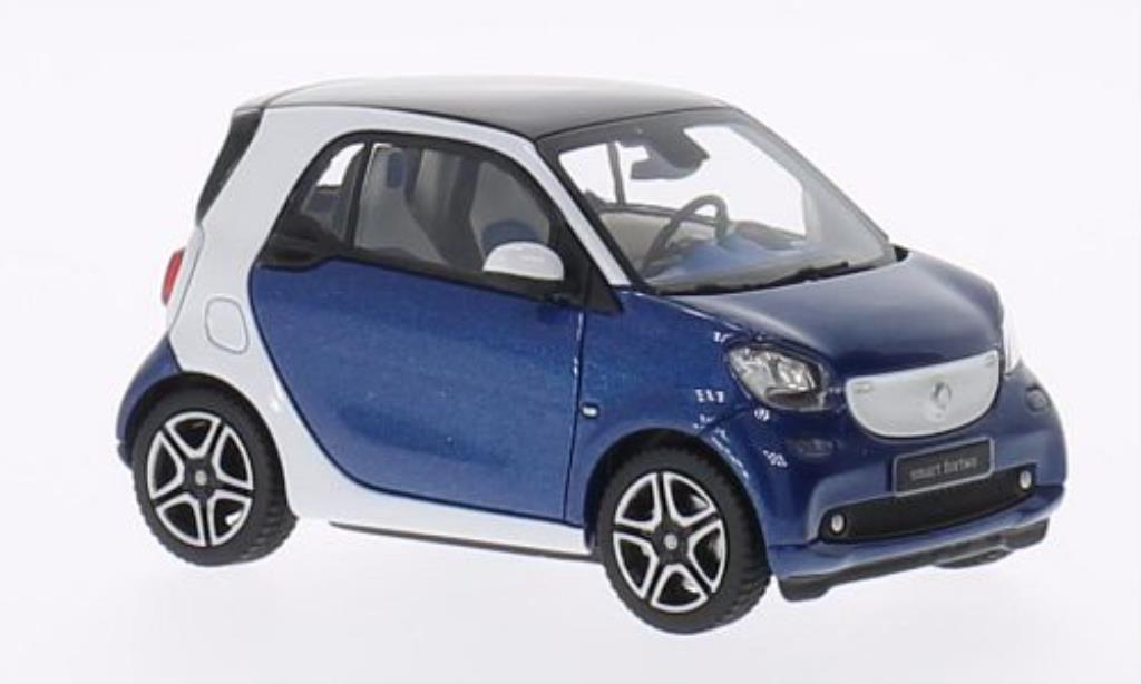 Smart Fortwo coupe 1/43 Norev blanche/bleu 2014 miniature