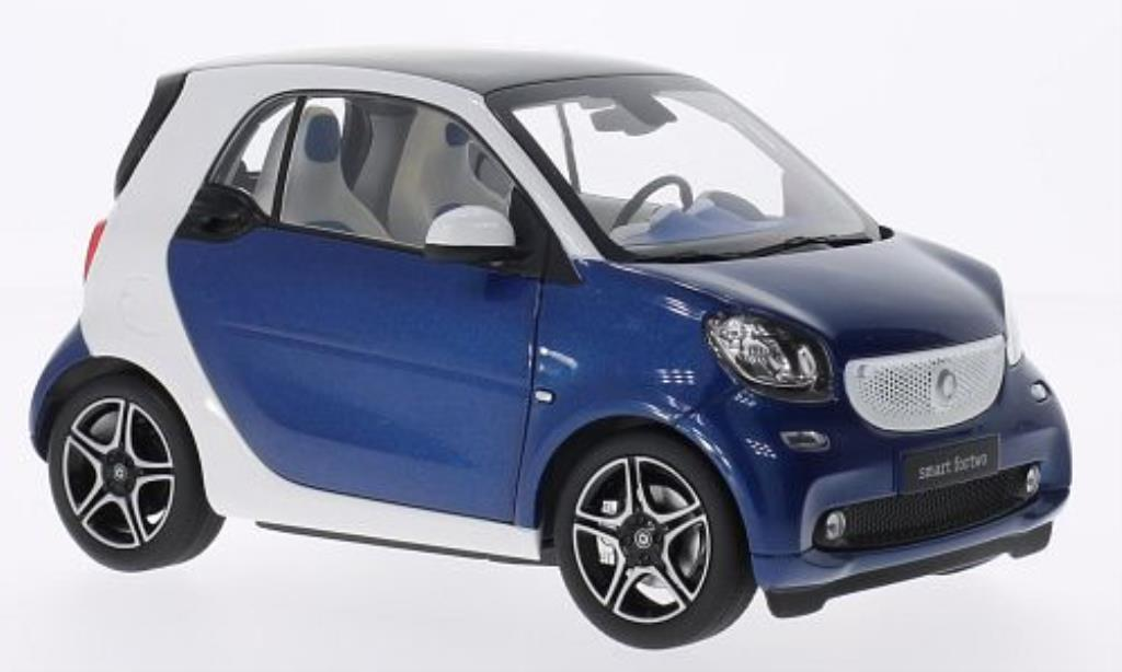 Smart ForTwo coupe 1/18 Norev Fortwo coupe blanche/bleu 2014 miniature