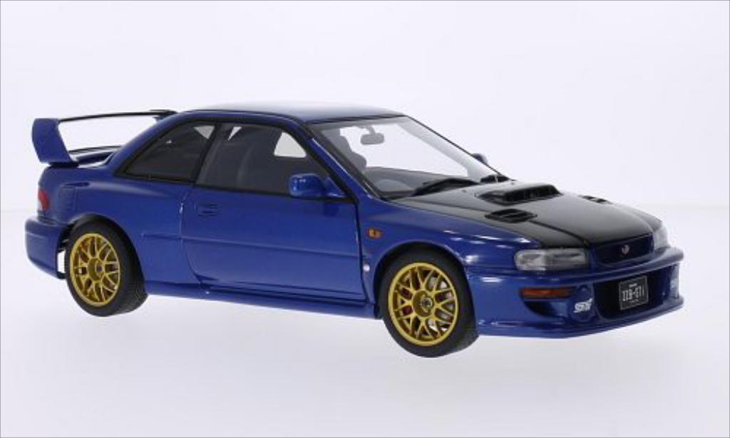 Subaru Impreza 22B 1/18 Autoart metallise bleu/carbon RHD 1998 diecast model cars