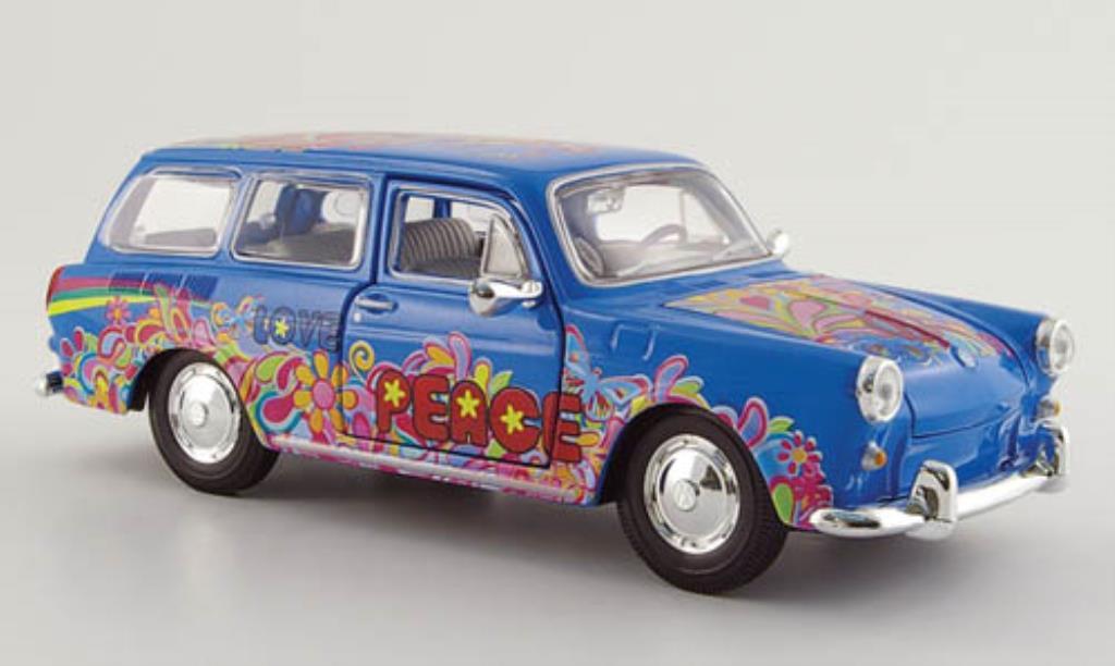 Volkswagen 1600 1/24 Maisto Variant bleu mit Dekor diecast