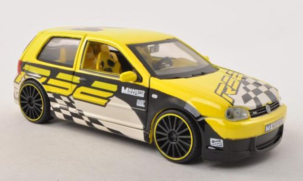 Volkswagen Golf IV R32 1/24 Maisto Tuning Maisto Racing yellow mit Dekoration 2003 diecast model cars
