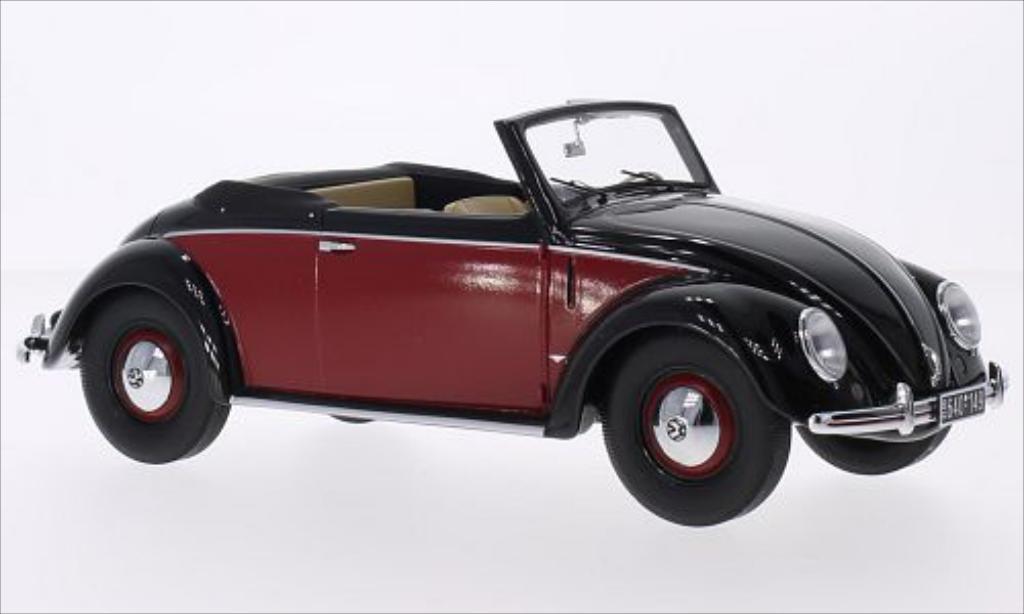 Volkswagen Kafer 1/18 Minichamps 1200 Cabrio Hebmuller noire/rouge 1949