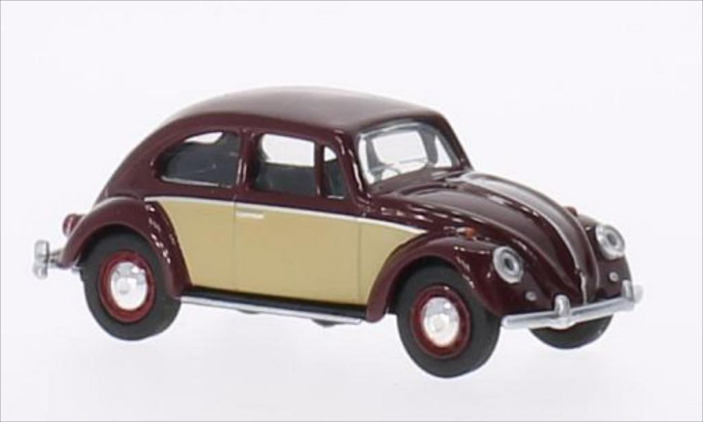 Volkswagen Kafer 1/64 Schuco 1500 rouge/beige 1960 miniature
