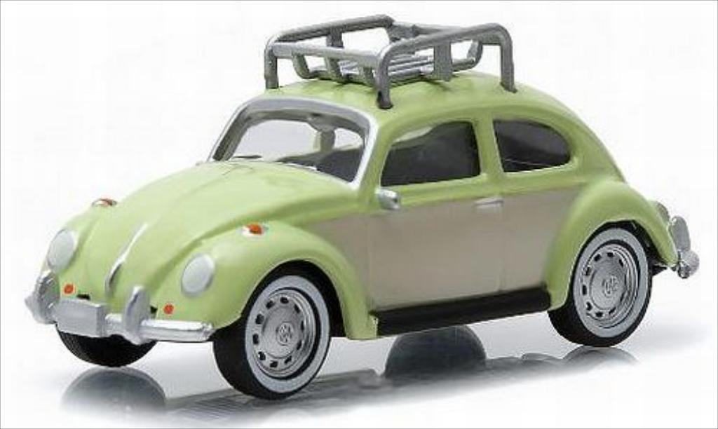 Volkswagen Kafer 1/64 Greenlight green/beige diecast