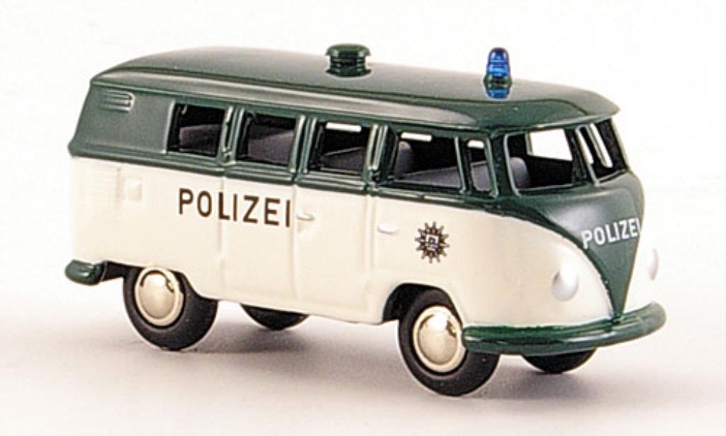 Volkswagen T1 1/87 Bub Bulli Bus Polizei blanche/verte miniature