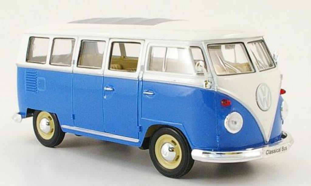 Volkswagen T1 1/24 Welly Bus bleu/blanche miniature