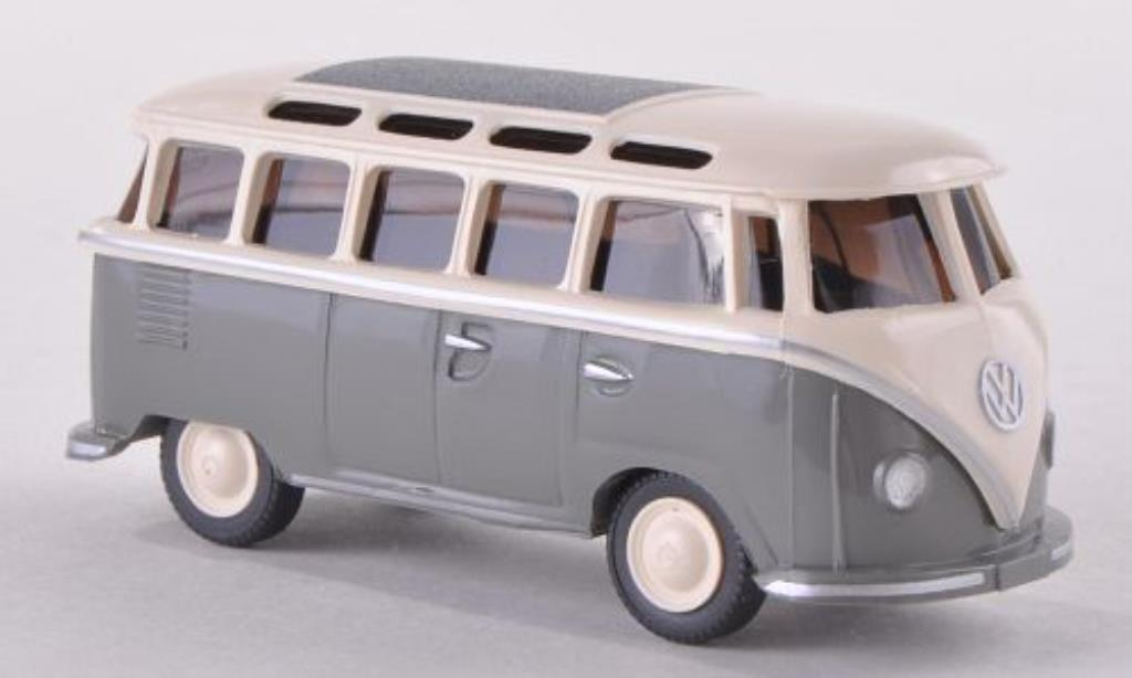 Volkswagen T1 1/87 Wiking Samba grise/blanche miniature