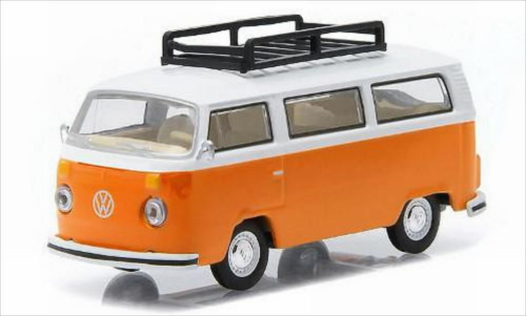 Volkswagen T2 1/64 Greenlight Bus orange/blanche 1974 miniature