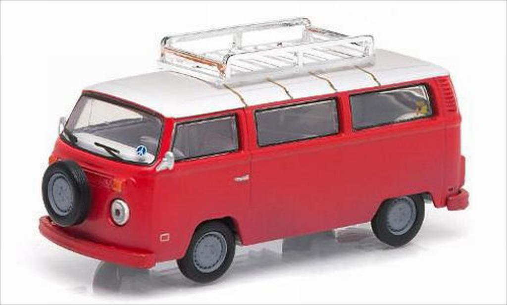 Volkswagen T2 1/64 Greenlight Bus rouge/blanche 1973 miniature