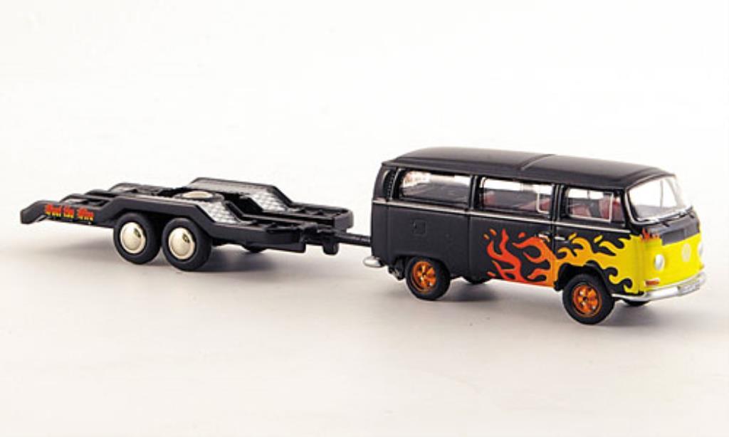 Volkswagen T2 1/87 Bub Bus black mit Flammendekor und Hanger diecast