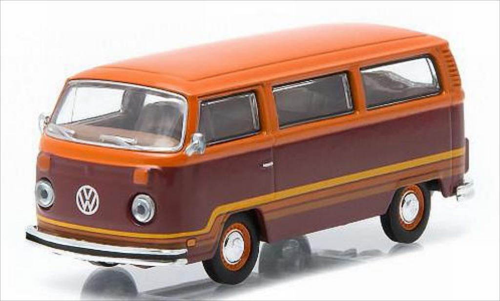 Volkswagen T2 1/64 Greenlight Champagne Edition II Bus rouge/orange 1978 miniature