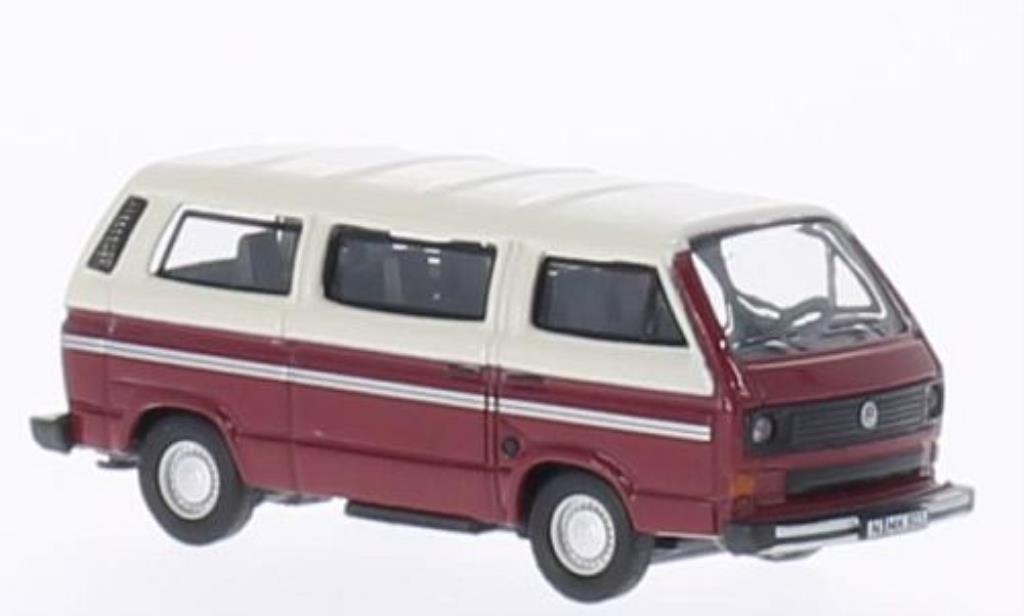 Volkswagen T3 1/87 Schuco Bus rouge/blanche miniature