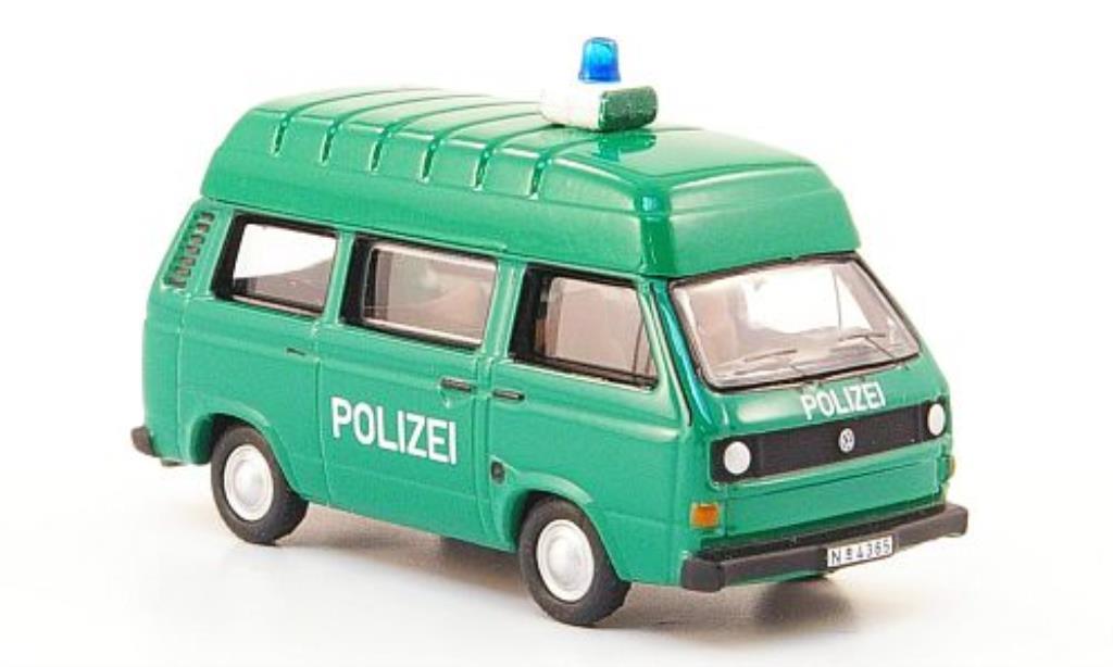 Volkswagen T3 1/87 Bub Hochraumbus Polizei grun miniature