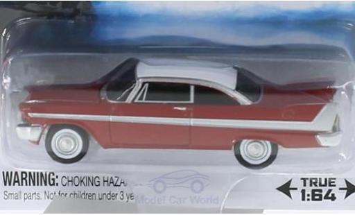 Plymouth Fury 1/64 Auto World rosso/bianco Der Horrorfilm Christine 1958 SilverScreen Moviecar miniatura