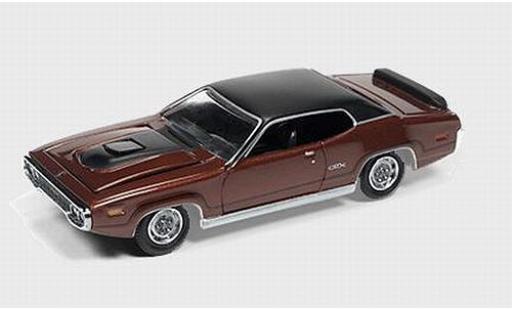 Plymouth GTX 1/64 Auto World brown/black 1971 diecast model cars