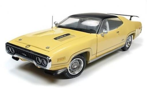 Plymouth GTX 1/18 Auto World jaune/noire 1971 miniature