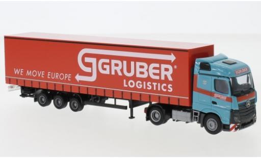 Mercedes Actros 1/87 AWM 5 StreamSpace/Aerop. Gruber Logistics camion avec bache miniature