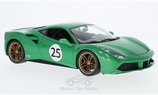 Ferrari 488 1/18 Bburago GTB metallico verde The Green Jewel 70 Jahre miniatura