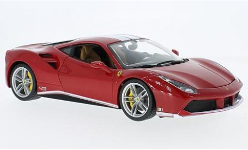 Ferrari 488 1/18 Bburago GTB rouge/blanche The Schumacher 70 années miniature