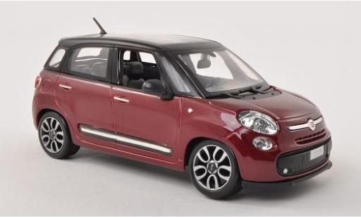 Fiat 500 1/24 Bburago L metallise red/matt-black diecast model cars