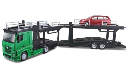 Mercedes Actros 1/43 Bburago 2545 verte camion de transport de voiture avec Ford Focus Turnier miniature