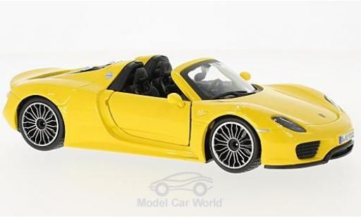Porsche 918 1/24 Bburago Spyder jaune miniature