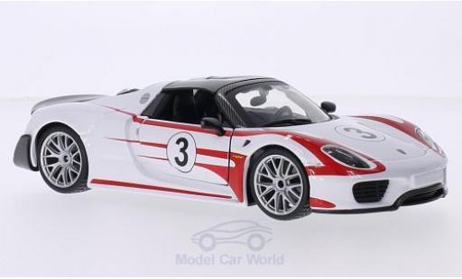 Porsche 918 2013 1/24 Bburago Weissach blanche/rouge No.3 2013 miniature