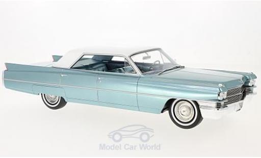 Cadillac Sedan 1/18 BoS Models de Ville métallisé turquoise/blanche 1963 miniature