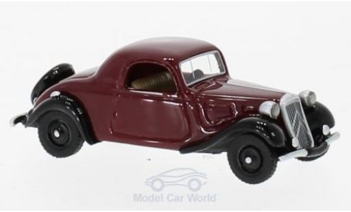 Citroen Traction 1/87 BoS Models Avant Faux Cabriolet rouge/noire 1936 miniature