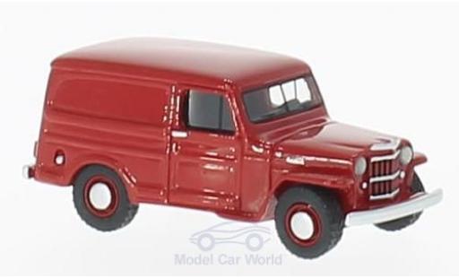 Jeep Willys 1/87 BoS Models Panel Van rojo 1954 miniatura