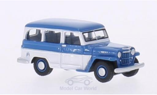 Jeep Willys 1/87 BoS Models Station Wagon bleue/blanche 1954 miniature