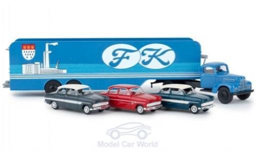 Ford FK 1/87 Brekina 3500 Köln Autotransport-SZ mit 3 12m Modellen diecast