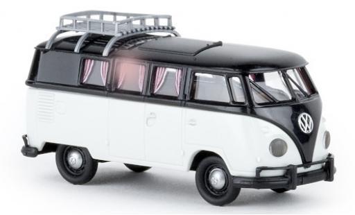 Volkswagen T1 1/87 Brekina b Camper schwarz/grau 1960 avec Dachklappe modellautos