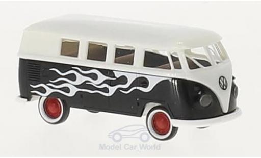 Volkswagen T1 B 1/87 Brekina b Kombi bleue/Dekor Flames miniature