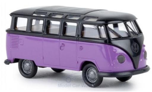 Volkswagen T1 1/87 Brekina b Samba noire/lila