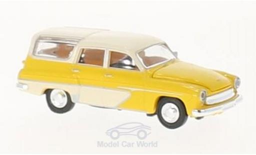 Wartburg 311 1/87 Brekina Camping jaune/blanche miniature