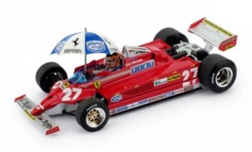Ferrari 126 1/43 Brumm CK turbo No.27 Scuderia Formel 1 GP Spanien 1981 mit Figur und Regenschirm G.Villeneuve diecast model cars